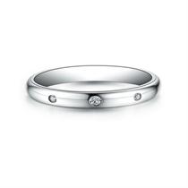 【情定三生】 白18K金时尚情侣钻石对戒女士戒指