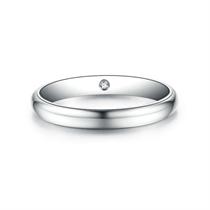 【情定三生】 白18K金时尚情侣钻石对戒男士戒指