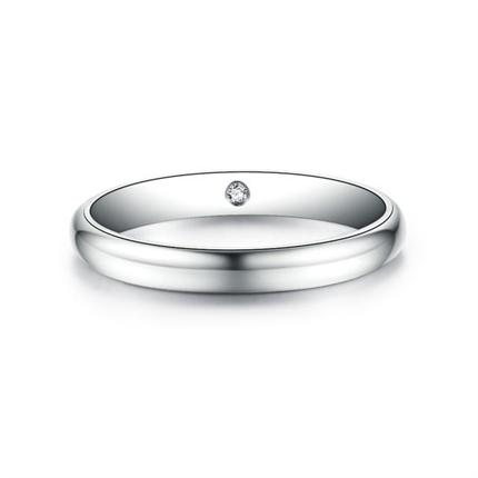 【情定三生】 白18K金時尚情侶鉆石對戒男士戒指