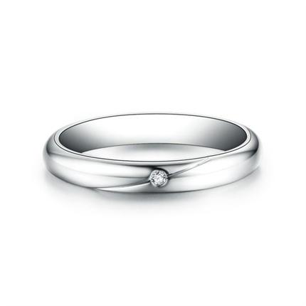 【爱的印记】 白18k金结婚订婚钻石对戒女士戒指