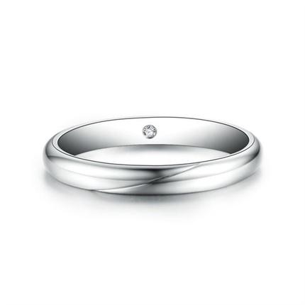 【爱的印记】 白18k金结婚订婚钻石对戒男士戒指
