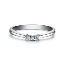 【心结】 白18k金钻石情侣对戒女士戒指