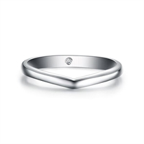 【心结】 白18k金钻石情侣对戒男士戒指