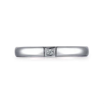 【情結】 白18K金時尚情侶鉆石對戒男士戒指