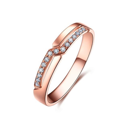 【爱的礼结】 18k玫瑰金时尚情侣对戒女士戒指