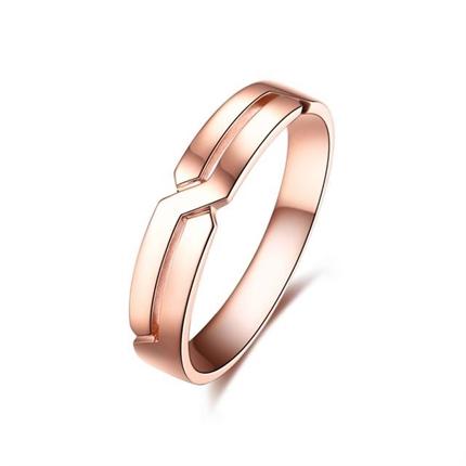 【爱的礼结】  18k玫瑰金时尚情侣对戒男士戒指