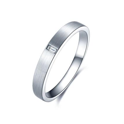 【印记】 白18k金简约情侣钻石对戒男士戒指