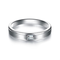 【相伴一生】 白18k金公主方钻石结婚对戒女士戒指