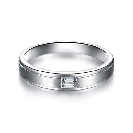 【相伴一生】 白18k金时尚钻石结婚对戒男士戒指