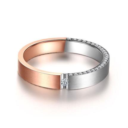 【焦点】  18k双色金钻石结婚对戒男士戒指