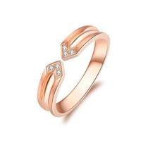 【棱角】 18k玫瑰金浪漫钻石情侣对戒女士戒指