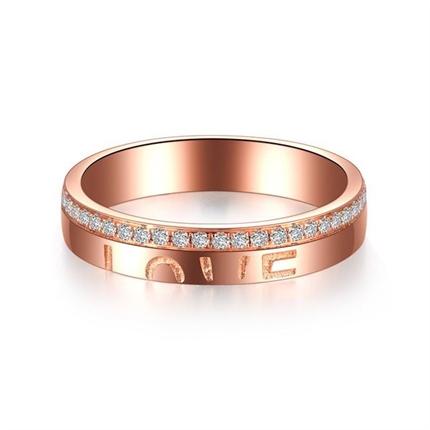 【情书】 18K玫瑰金浪漫订婚结婚对戒钻石女戒