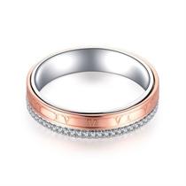 【时光里的爱TIME&LOVE】 18k双色金情侣钻石对戒男士戒指