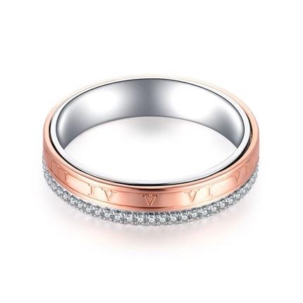 【时光里的爱】 18k双色金情侣钻石对戒男士戒指