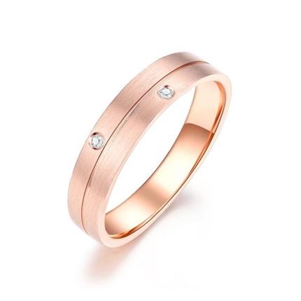 【弦】 18k玫瑰金时尚钻石对戒女士戒指