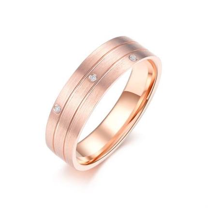 【弦】 18k玫瑰金时尚钻石对戒男士戒指