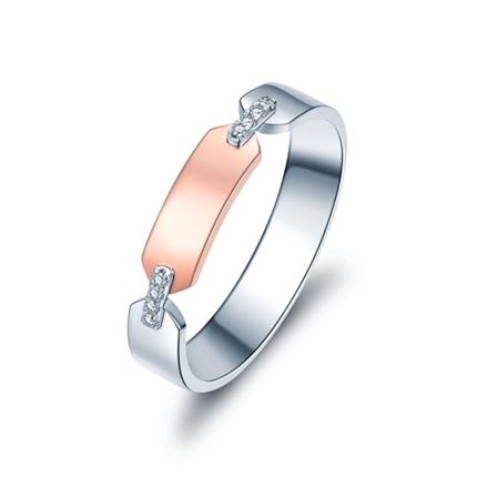 【情书】 18K双色金浪漫钻石情侣女士戒指