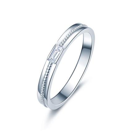 【携手一生】 白18k金时尚钻石对戒女士戒指