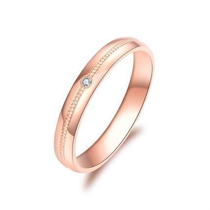 【如初】 18K玫瑰金订婚结婚钻石对戒女士戒指