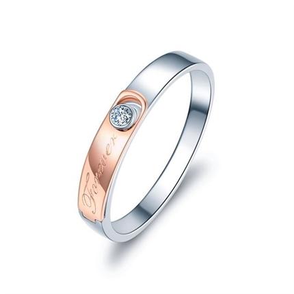 【相恋】 18K双色金时尚钻石订婚对戒男士戒指