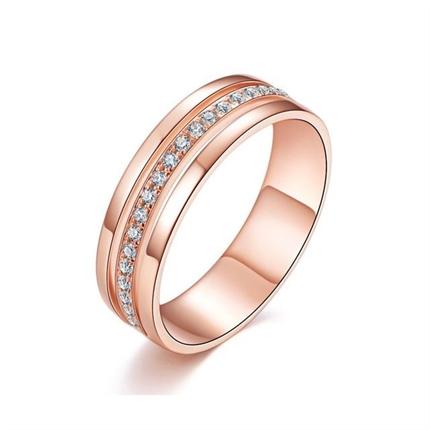 【悸动】 18K玫瑰金时尚钻石情侣对戒女士钻戒