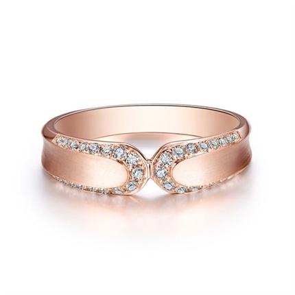 【契约】 玫瑰金时尚钻石情侣对戒女士戒指