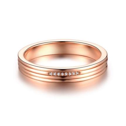 【心弦】 18k玫瑰金情侣钻石对戒女士戒指