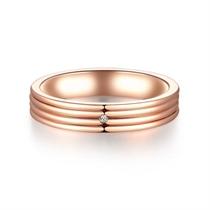 【心弦】 18k玫瑰金情侣钻石对戒男士戒指