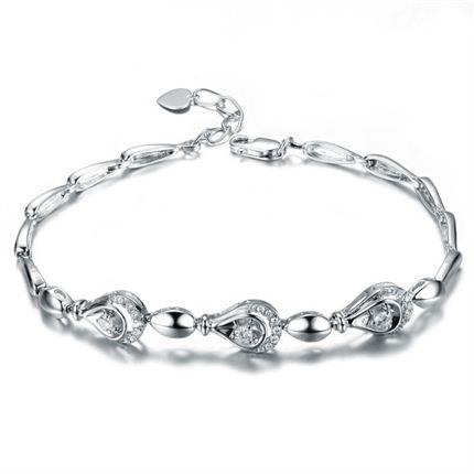 【水灵】 白18K金14分/0.14克拉钻石女士手链