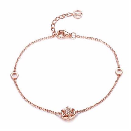 【咱们相爱吧】巢系列 玫瑰金钻石手链
