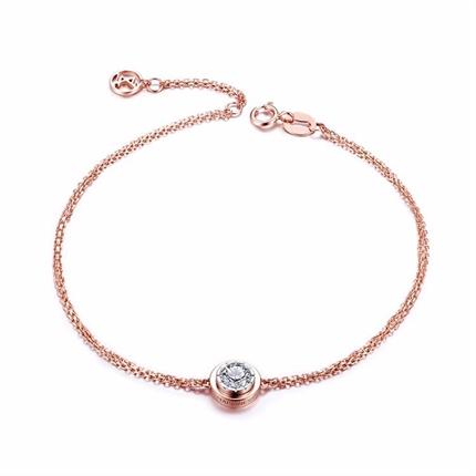 【时光里的爱】 红白18k彩金时尚钻石手链