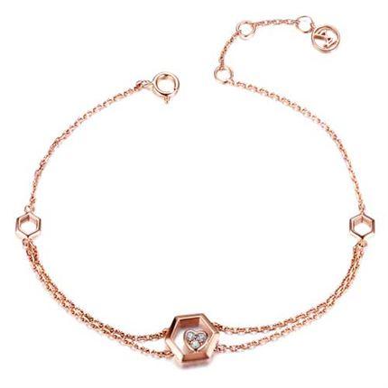 【巢】系列 玫瑰18k金鉆石手鏈女珠寶首飾