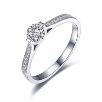 【月神】 白18K金32分/0.32克拉钻石女士戒指