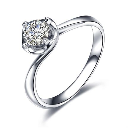 【初恋】 白18K金 钻石密斯戒指