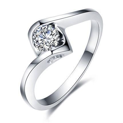 【佳人】 白18K金戒指