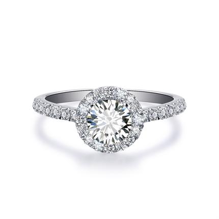 【向日葵】 白18K金钻石密斯戒指