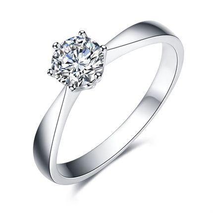 【静美】 白18K金  钻石密斯戒指