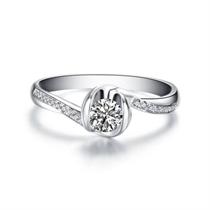【流珠】 白18K金钻石女士戒指