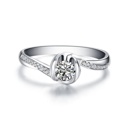 【流珠】 白18K金钻石密斯戒指