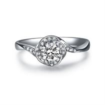 【玫瑰深情】 白18K金钻石女士戒指