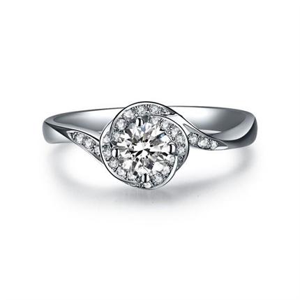 【玫瑰人生】 白18K金钻石女士戒指