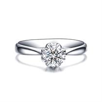 【花开并蒂】 白18K金钻石女士戒指