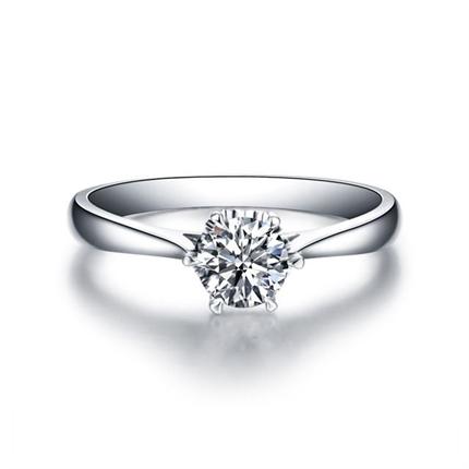 【挚爱】 白18k金结婚钻石戒指