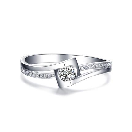 【相守】 白18K金 钻石密斯戒指