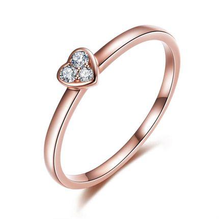 【心】系列 玫瑰18K金时尚心形钻戒