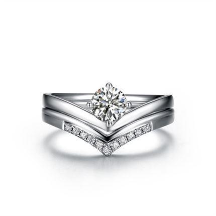 【唯你】 白18K金40分/0.4克拉钻石女士戒指