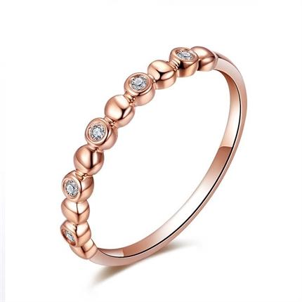 【公主】 玫瑰金4分/0.04克拉钻石女士戒指
