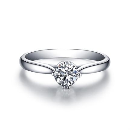 【动心】 白18K金 钻石密斯戒指