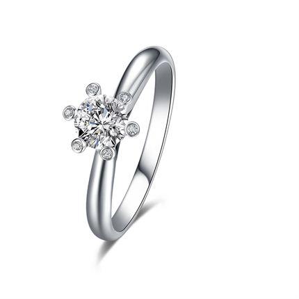 【摩天轮】系列 白18K金钻石密斯戒指