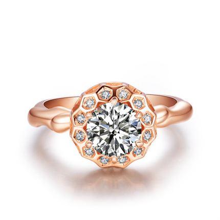 【巢系列】 黄18K金钻石女士戒指
